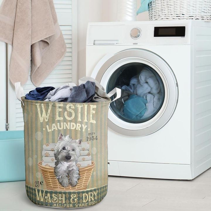 westie dog wash and dry all over print laundry basket 2