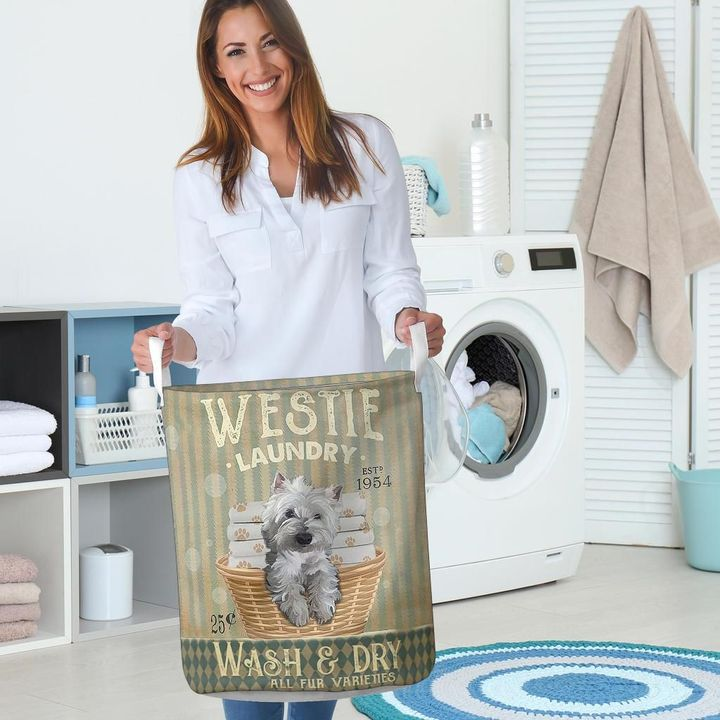 westie dog wash and dry all over print laundry basket 5