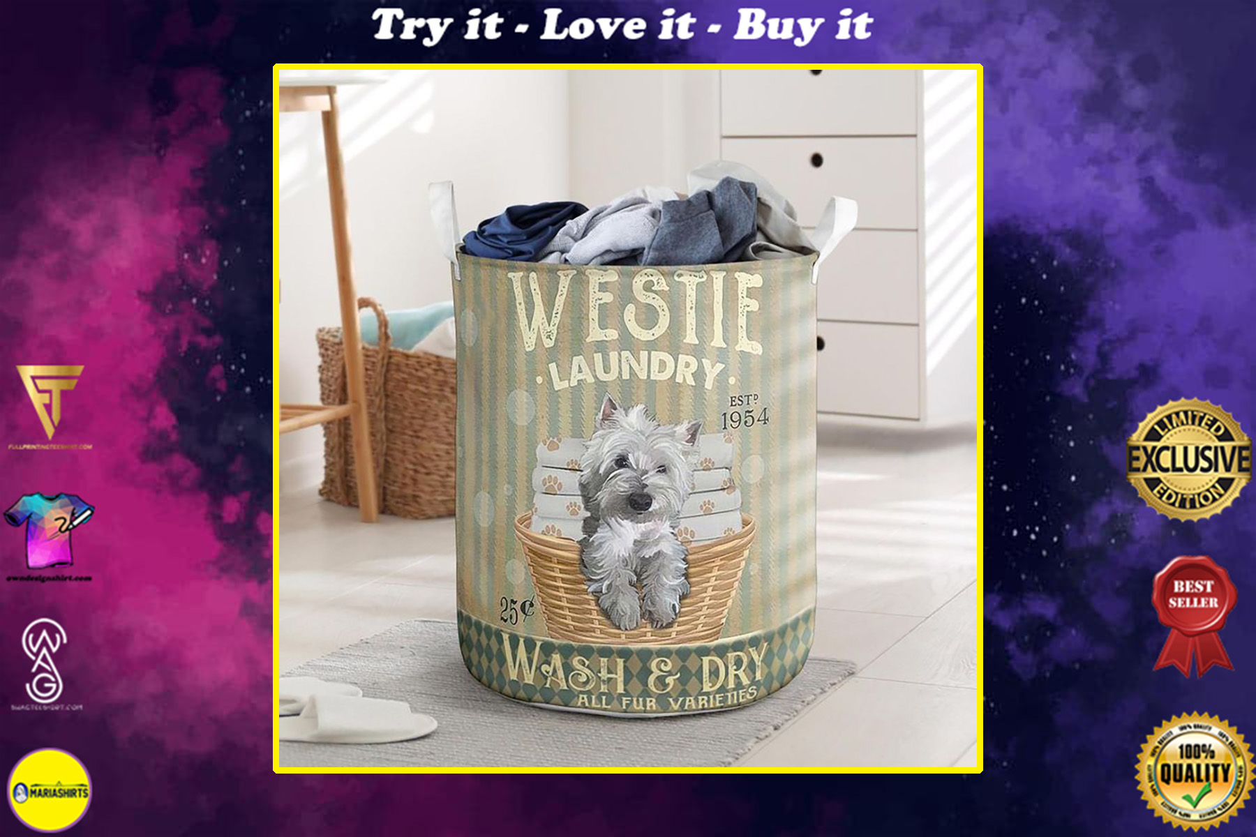 westie dog wash and dry all over print laundry basket