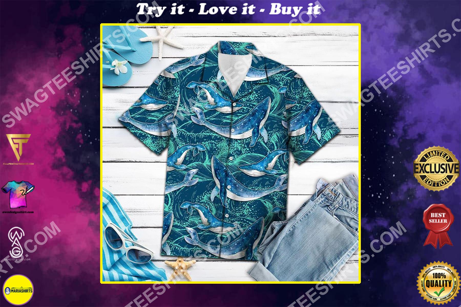whale waves all over printed hawaiian shirt