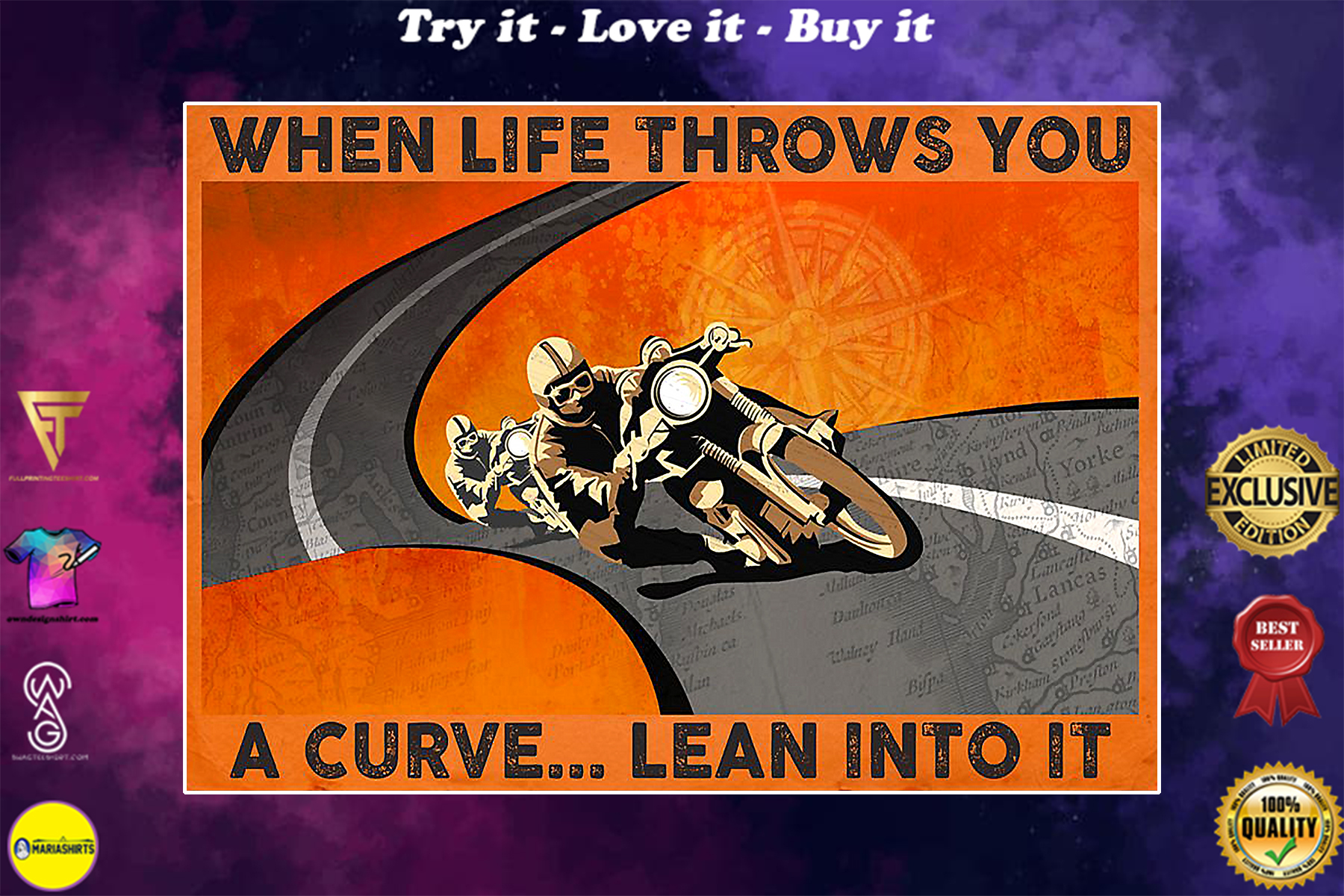 when life throws you a curve lean into it vintage poster