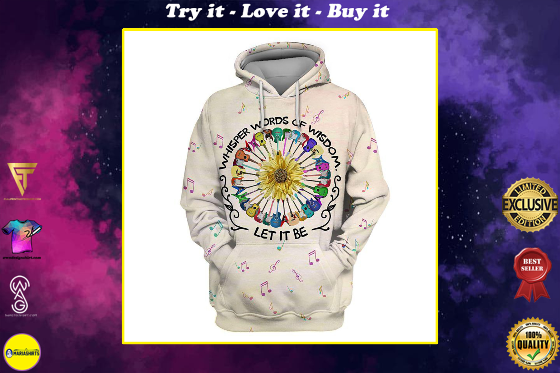 whisper words of wisdom let it be hippie colorful guitar all over printed shirt
