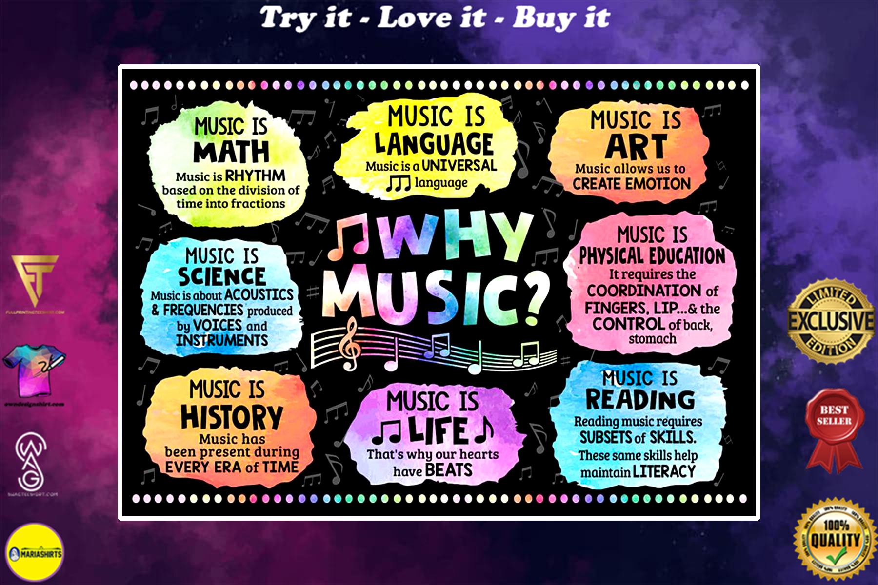 why music music is language music is art music is math music is life poster