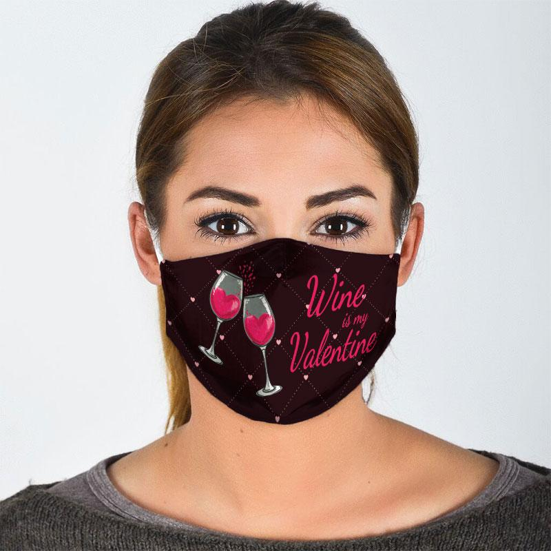 wine is my valentine all over print face mask 3