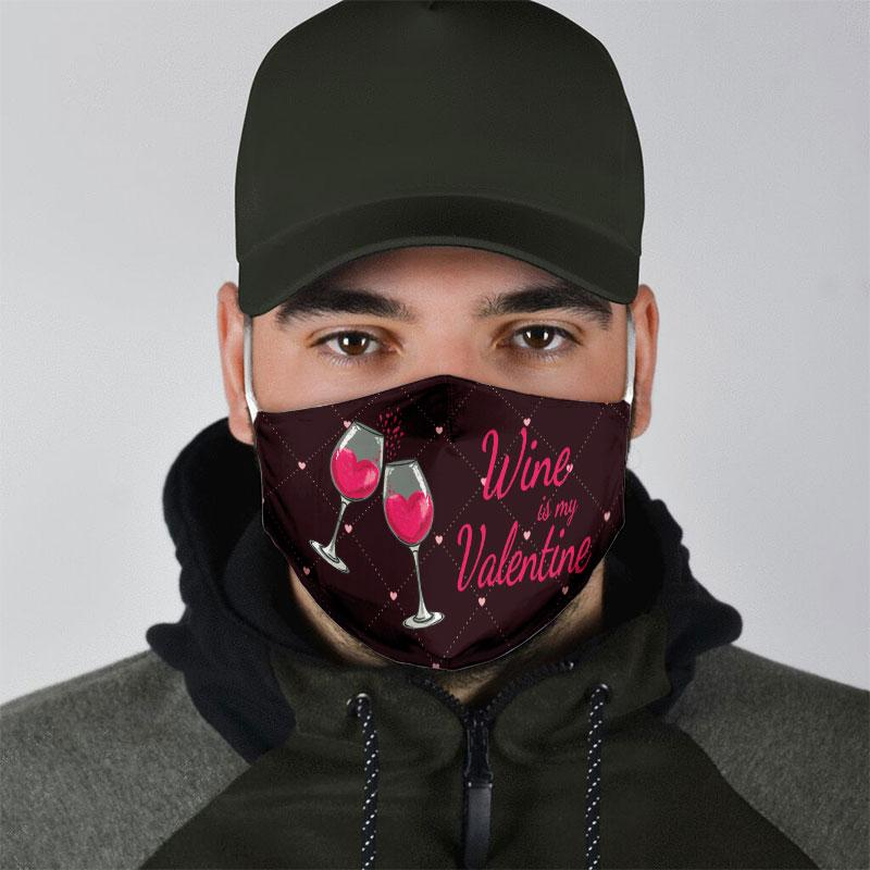 wine is my valentine all over print face mask 5