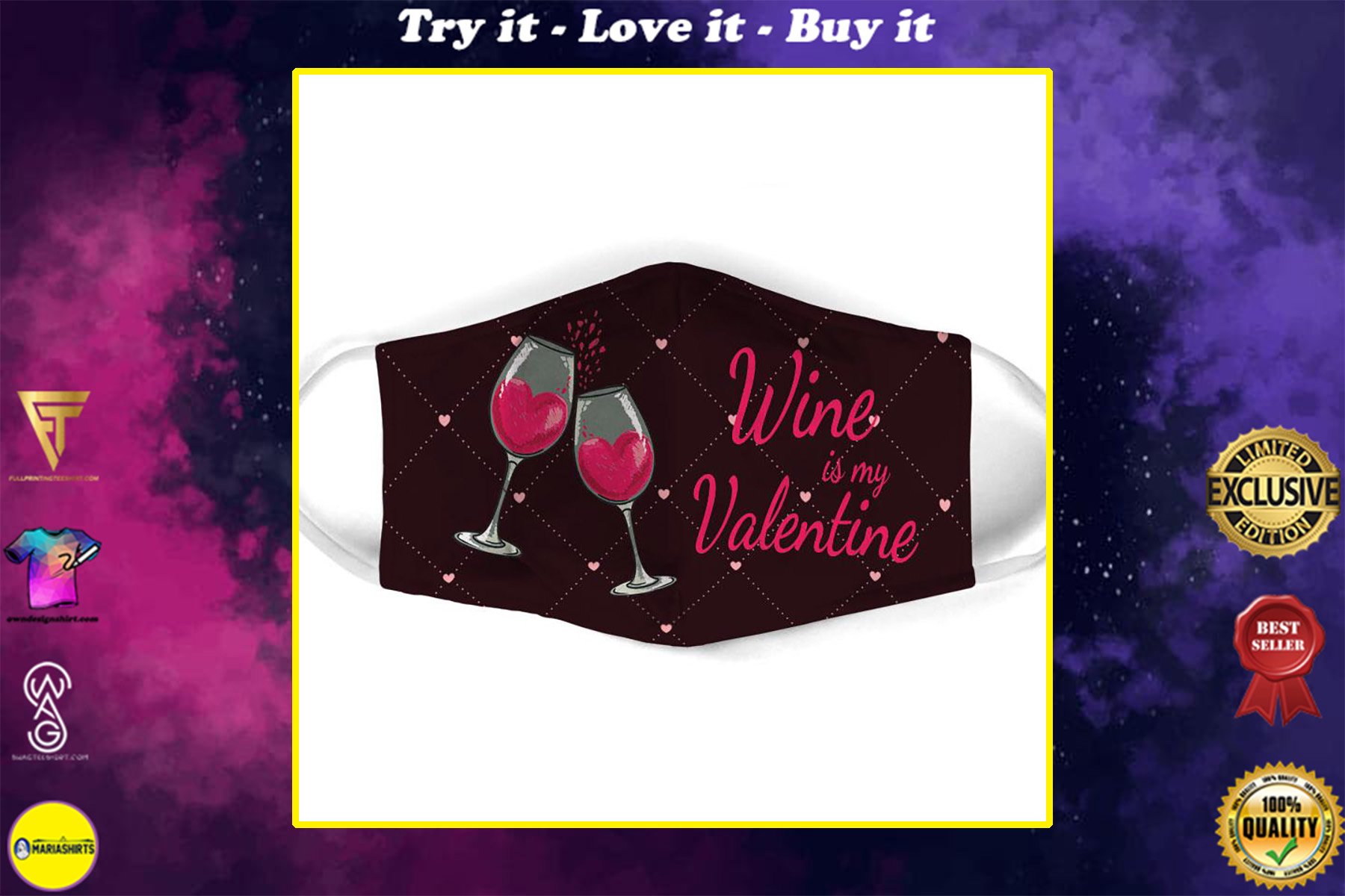 wine is my valentine all over print face mask