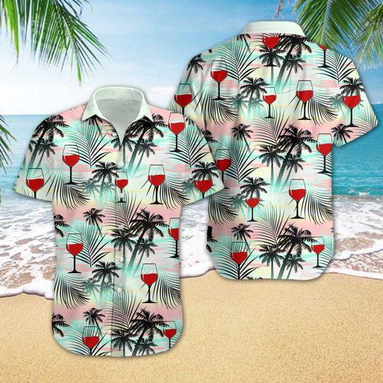 wine tropical all over printed hawaiian shirt 2