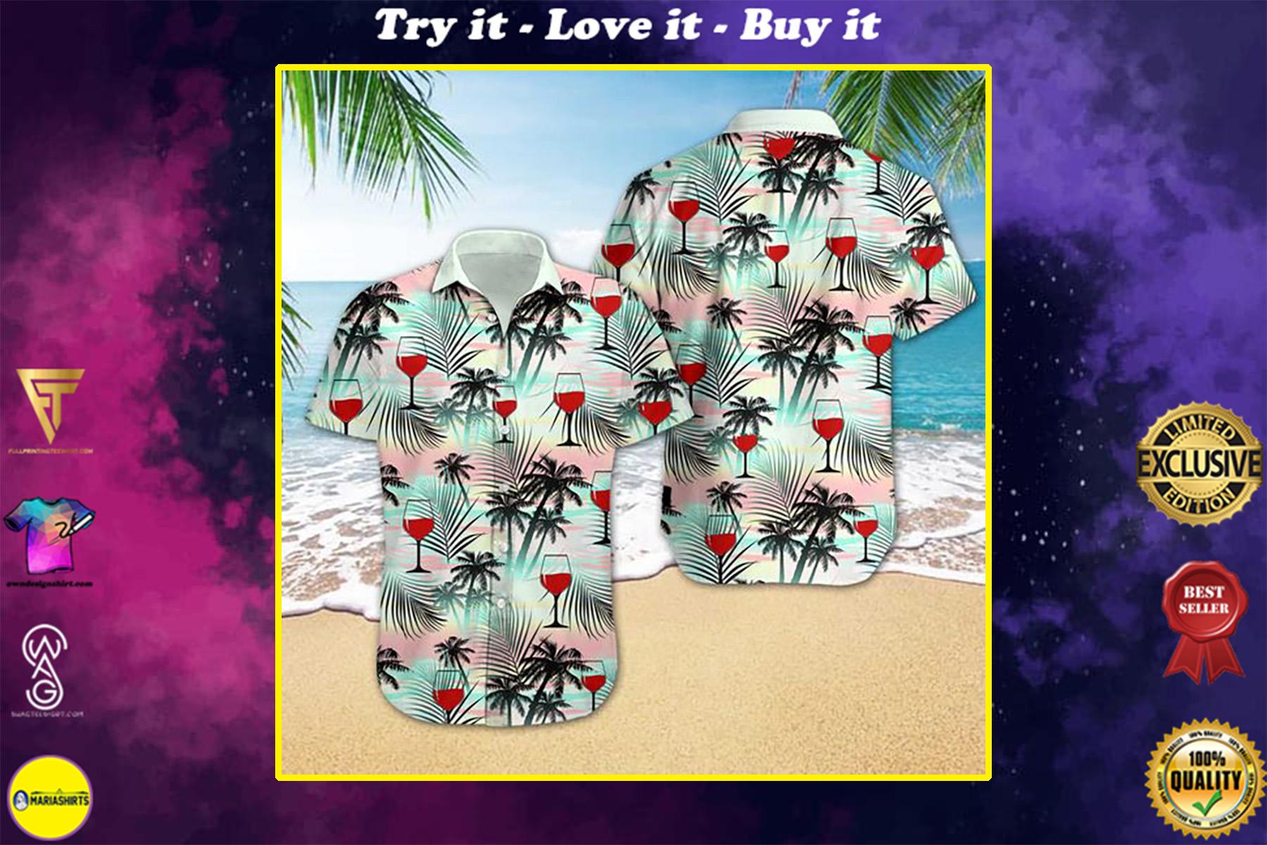 wine tropical all over printed hawaiian shirt