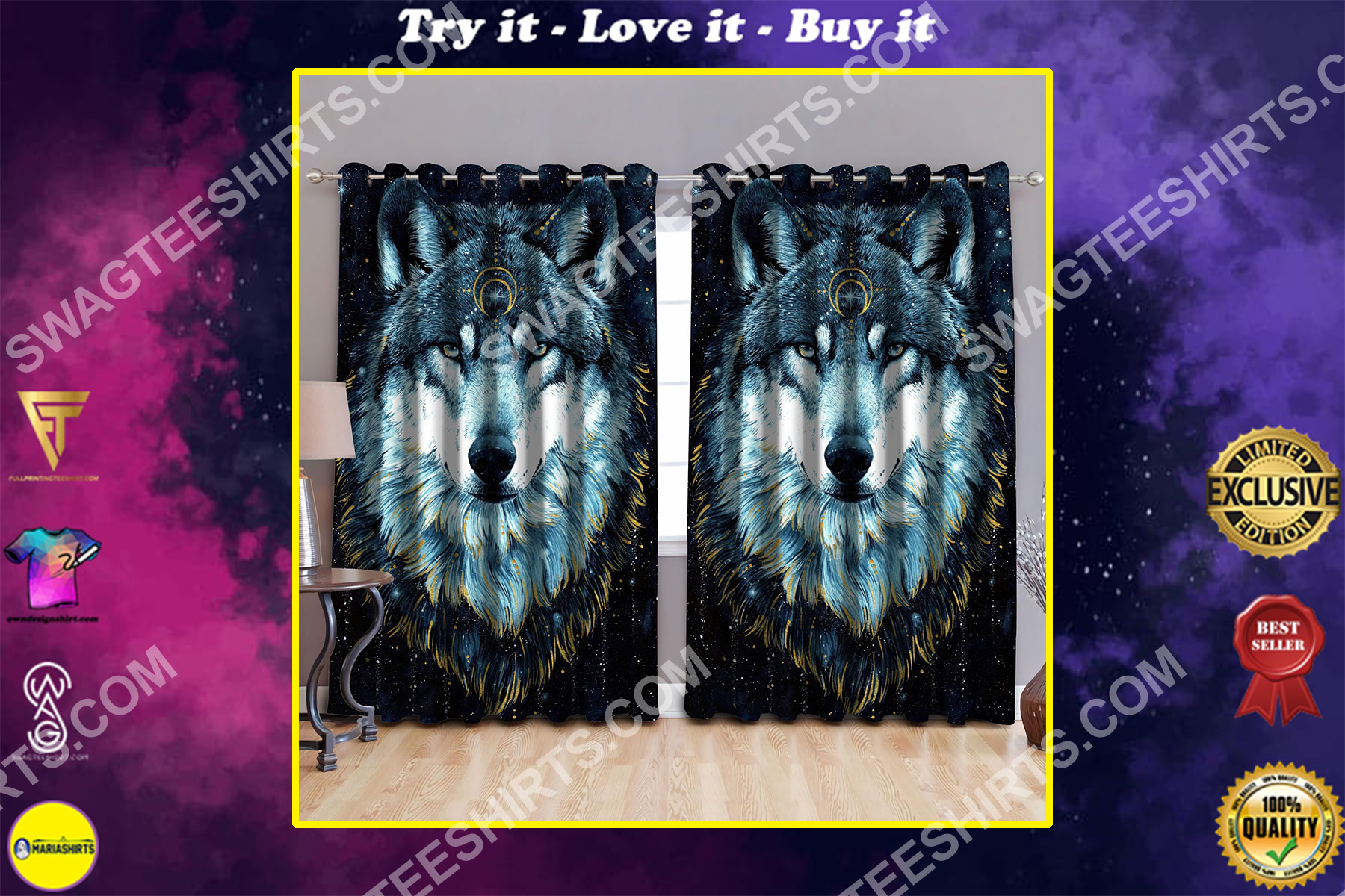 wolf and moon night all over printed window curtains