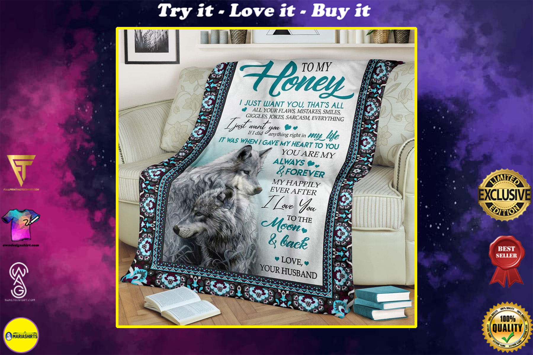 wolf message to my honey i love you yo the moon and back full printing blanket