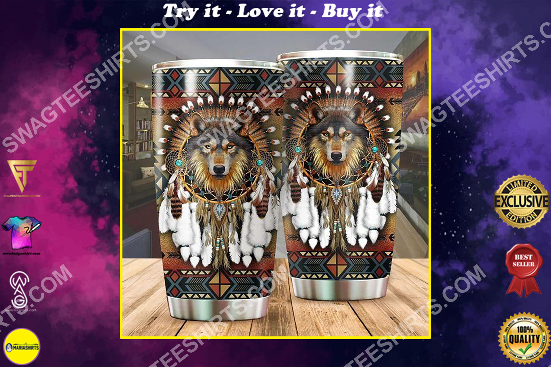 wolf native american culture all over printed stainless steel tumbler