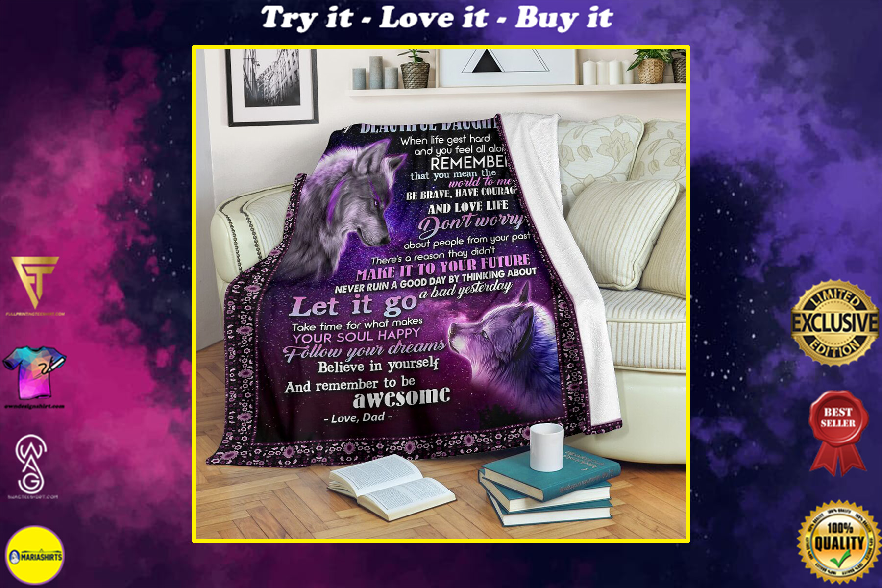 wolf to my daughter follow your dreams believe in yourself love dad full printing blanket