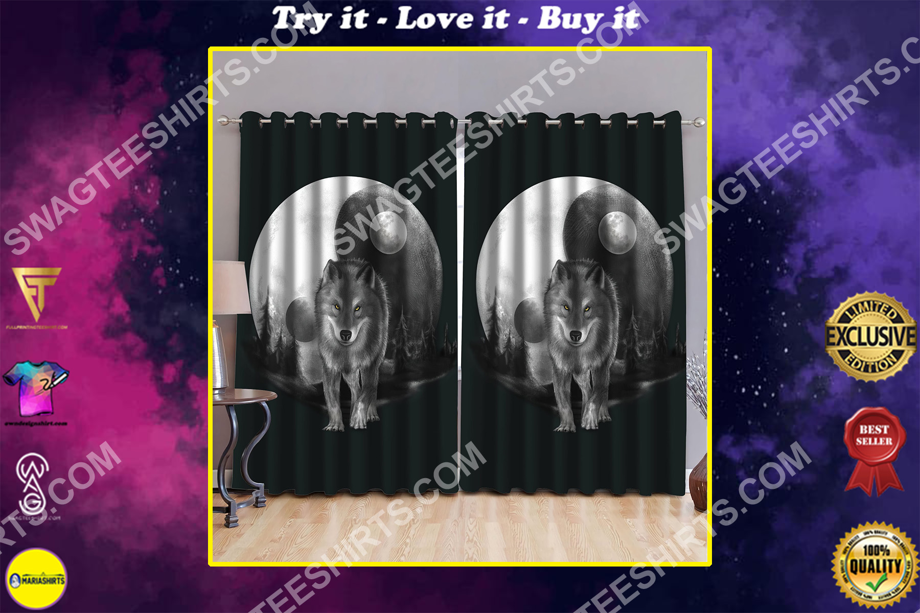 wolf walk in moon all over printed window curtains