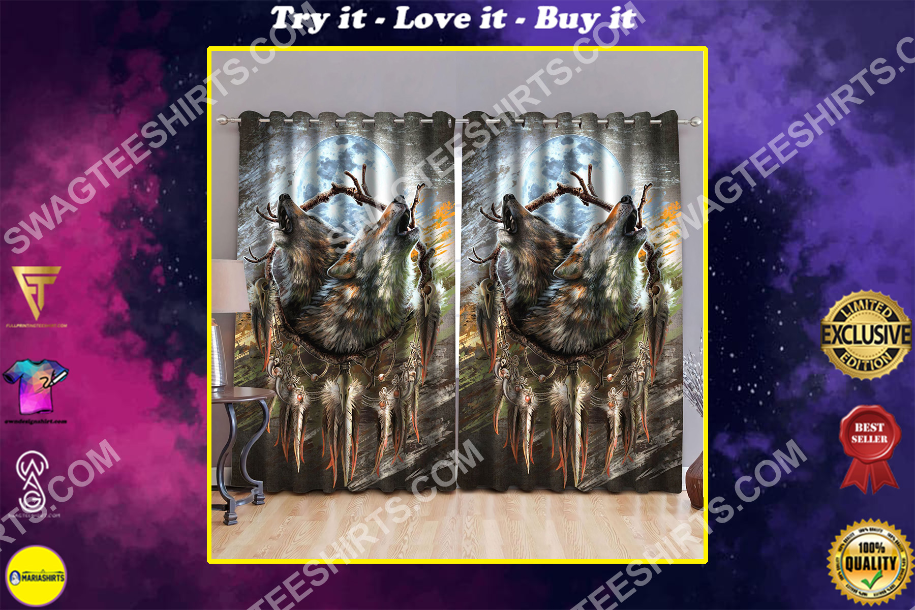 wolf with the moon all over printed window curtains