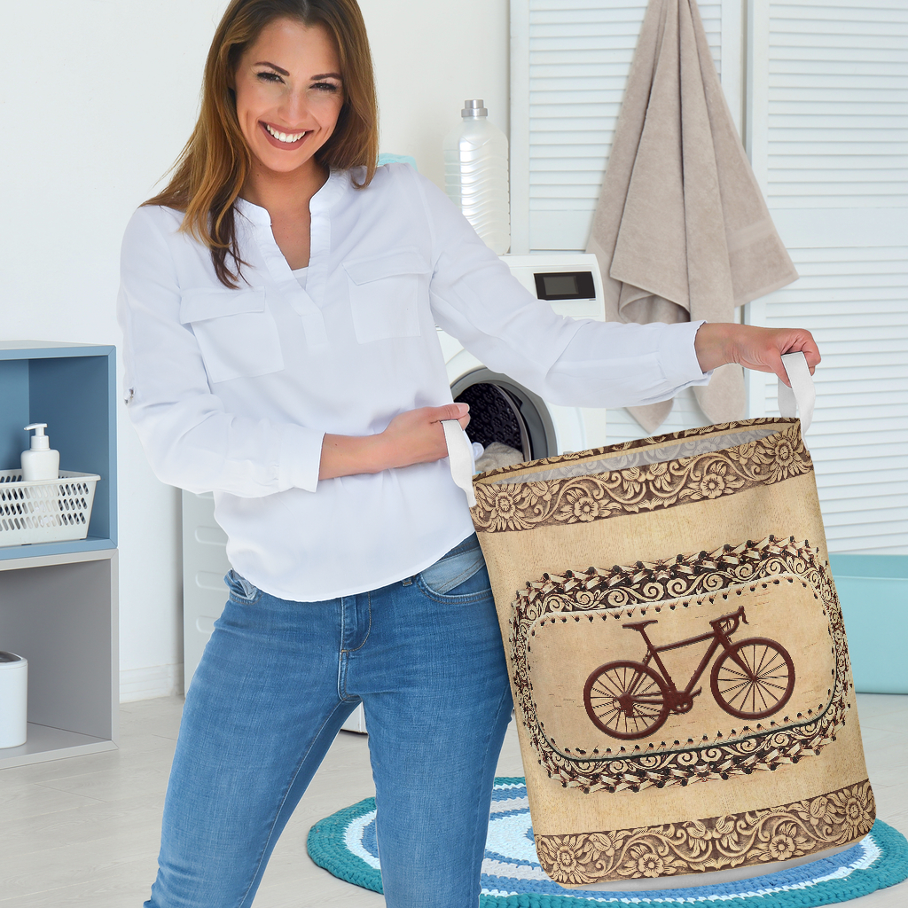 wood bicycle all over printed laundry basket 3