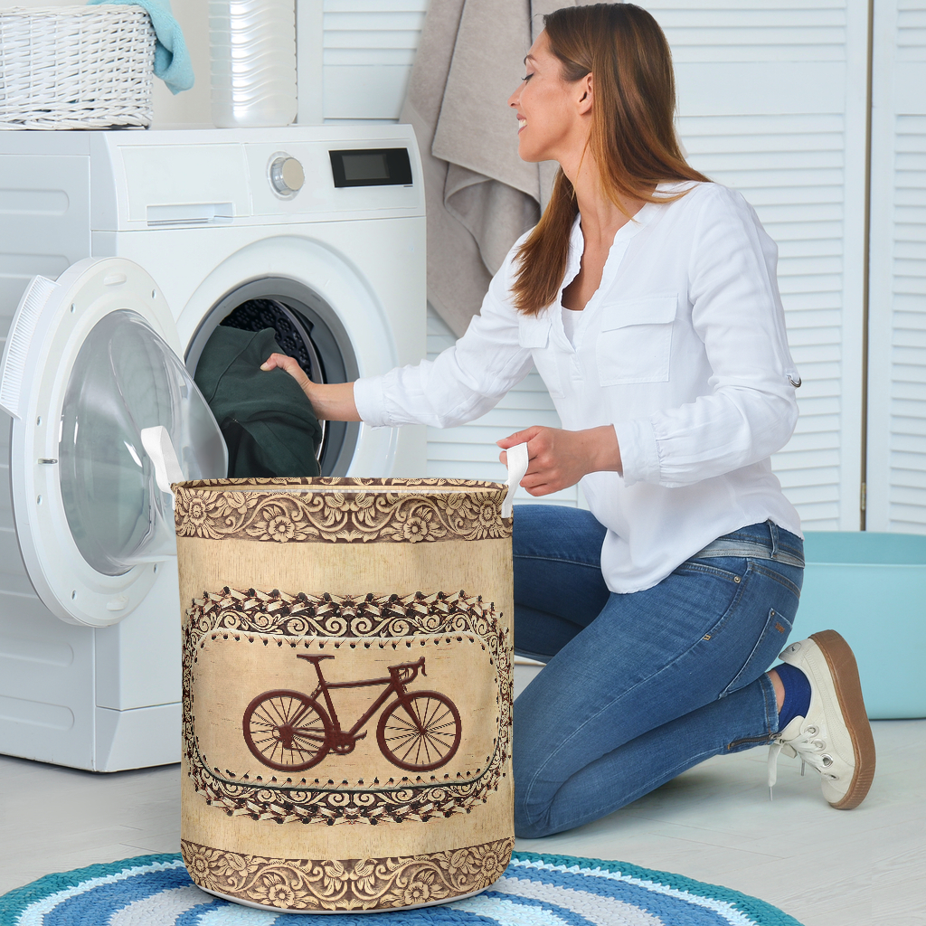 wood bicycle all over printed laundry basket 4