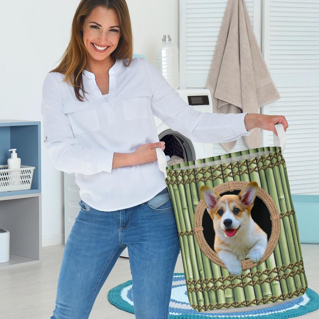 wood corgi all over printed laundry basket 3