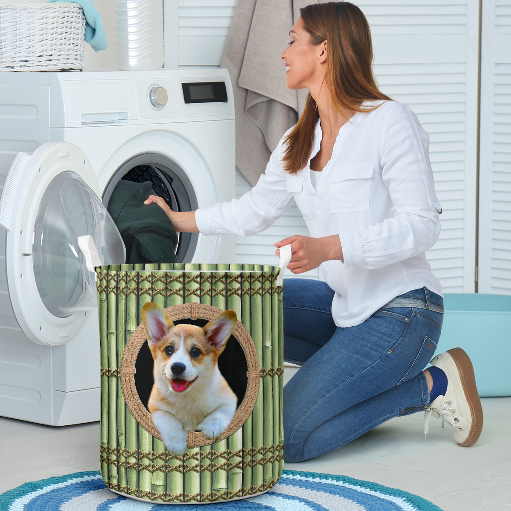 wood corgi all over printed laundry basket 4