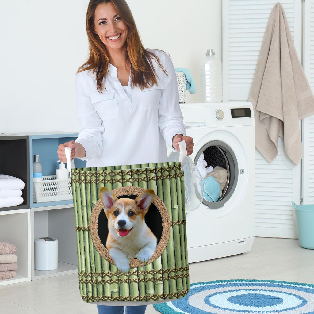wood corgi all over printed laundry basket 5