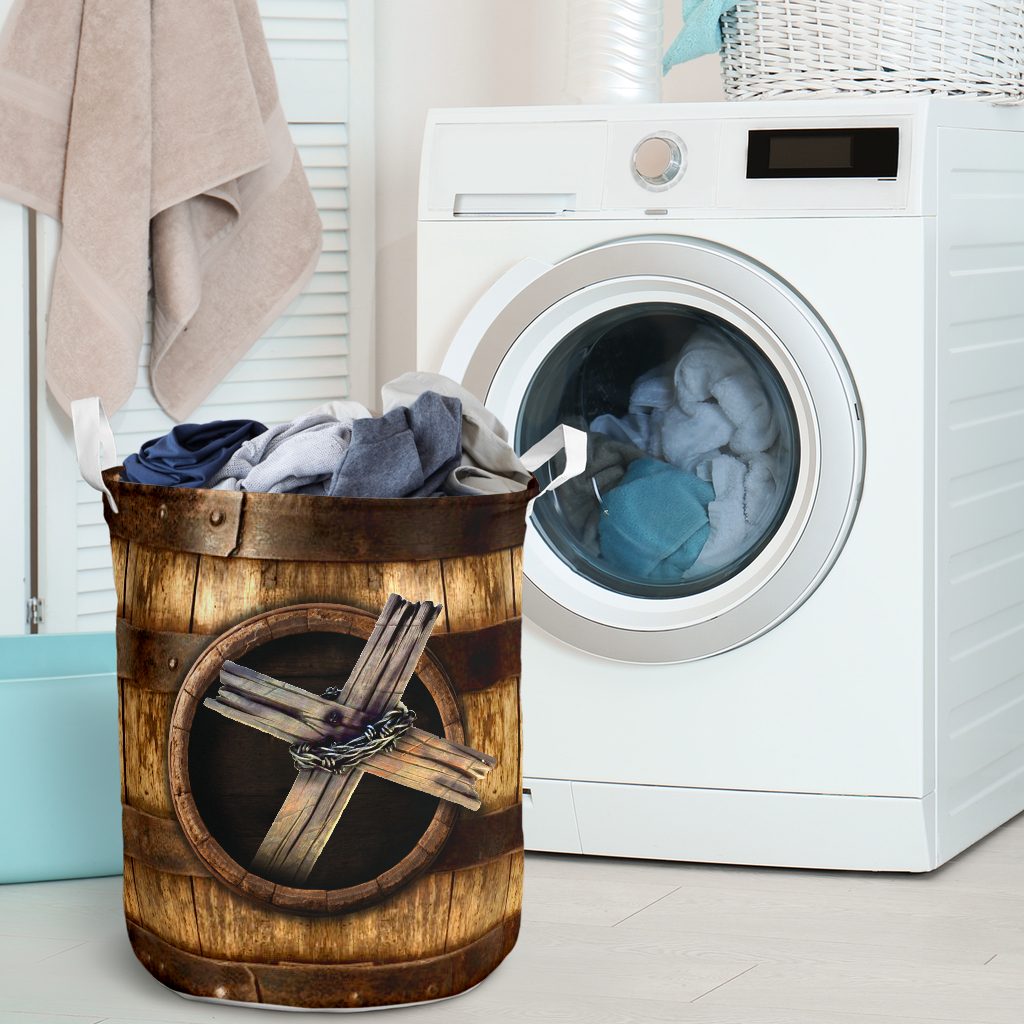wood cross blessed all over printed laundry basket 2