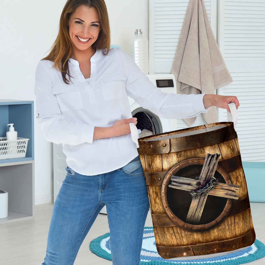 wood cross blessed all over printed laundry basket 3