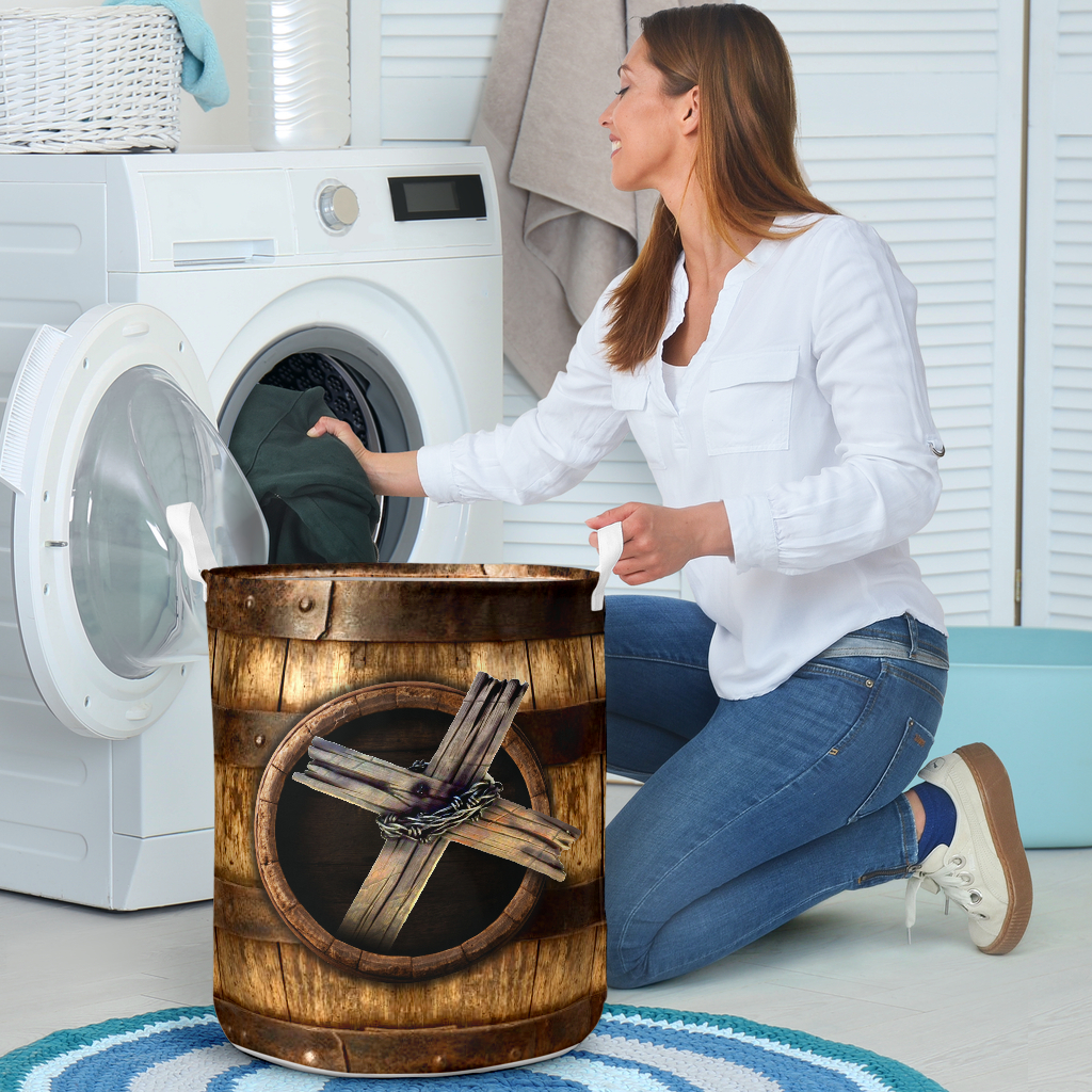 wood cross blessed all over printed laundry basket 4