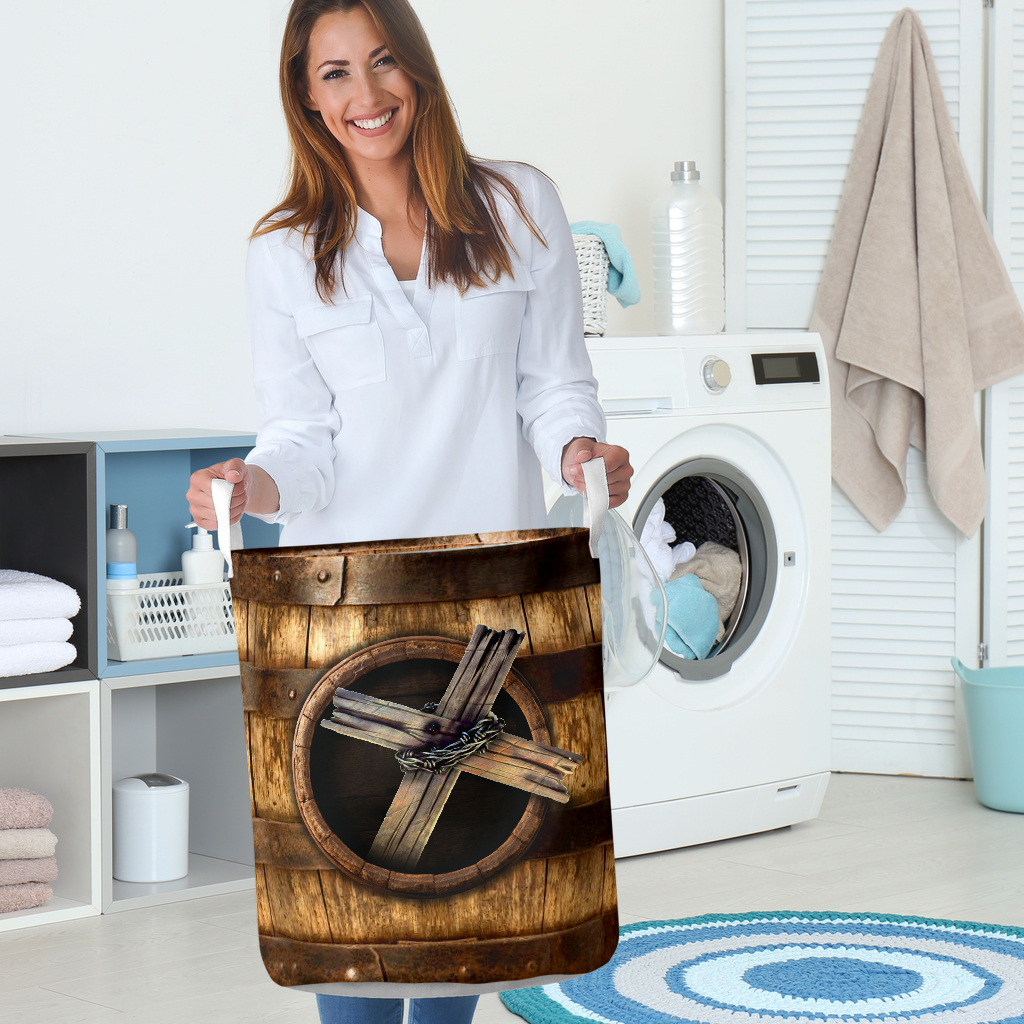 wood cross blessed all over printed laundry basket 5