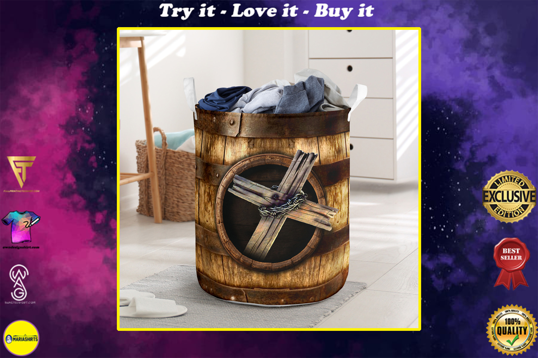 wood cross blessed all over printed laundry basket