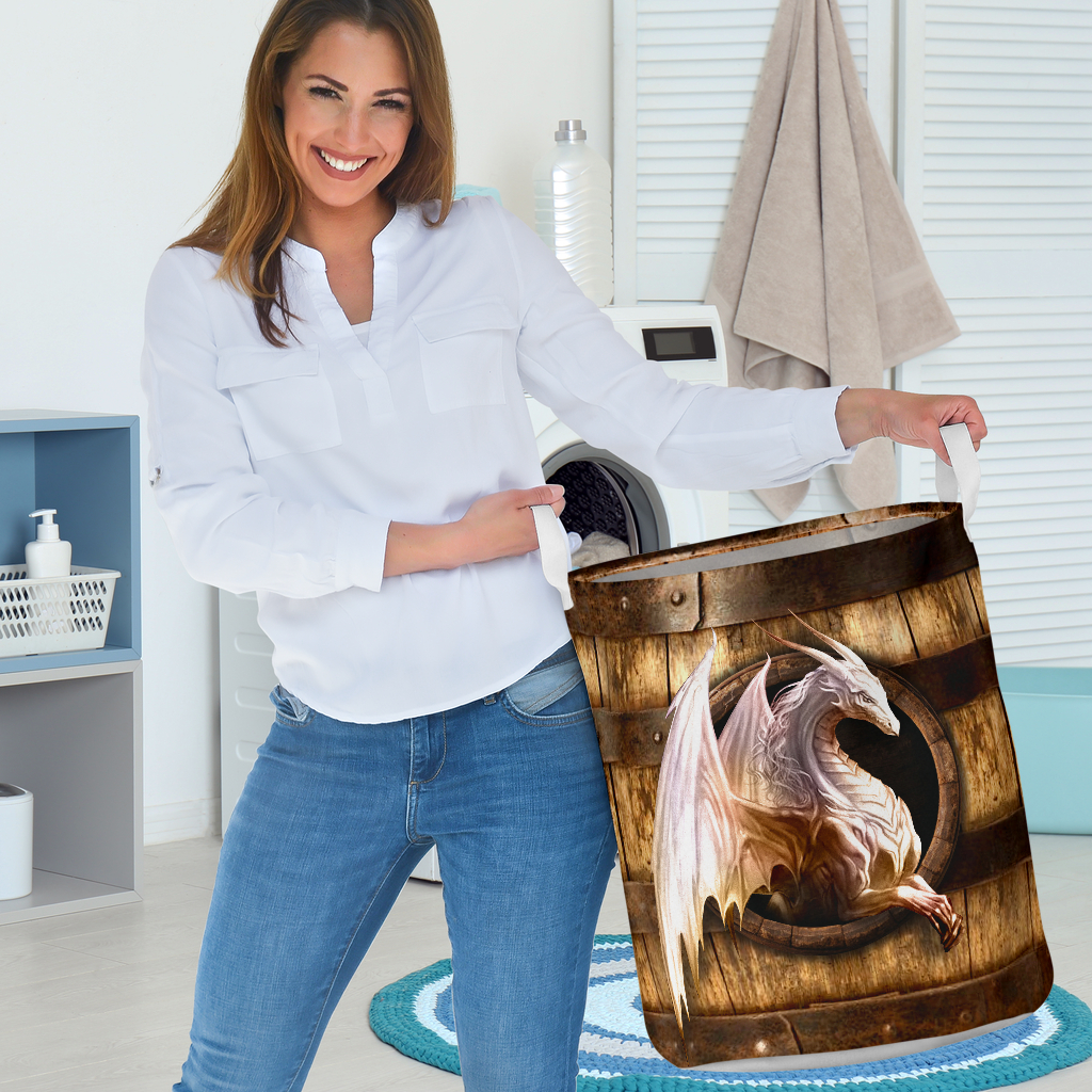 wood dragon all over printed laundry basket 3