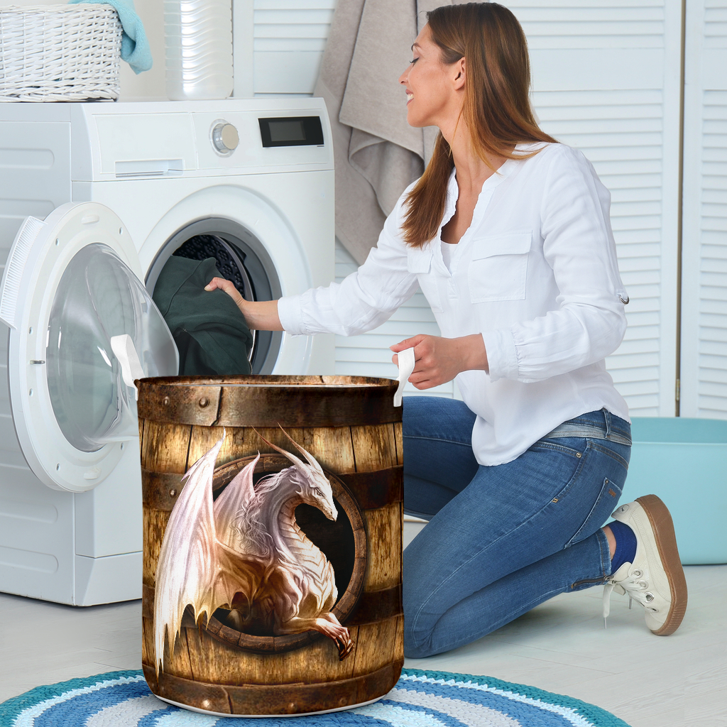 wood dragon all over printed laundry basket 4