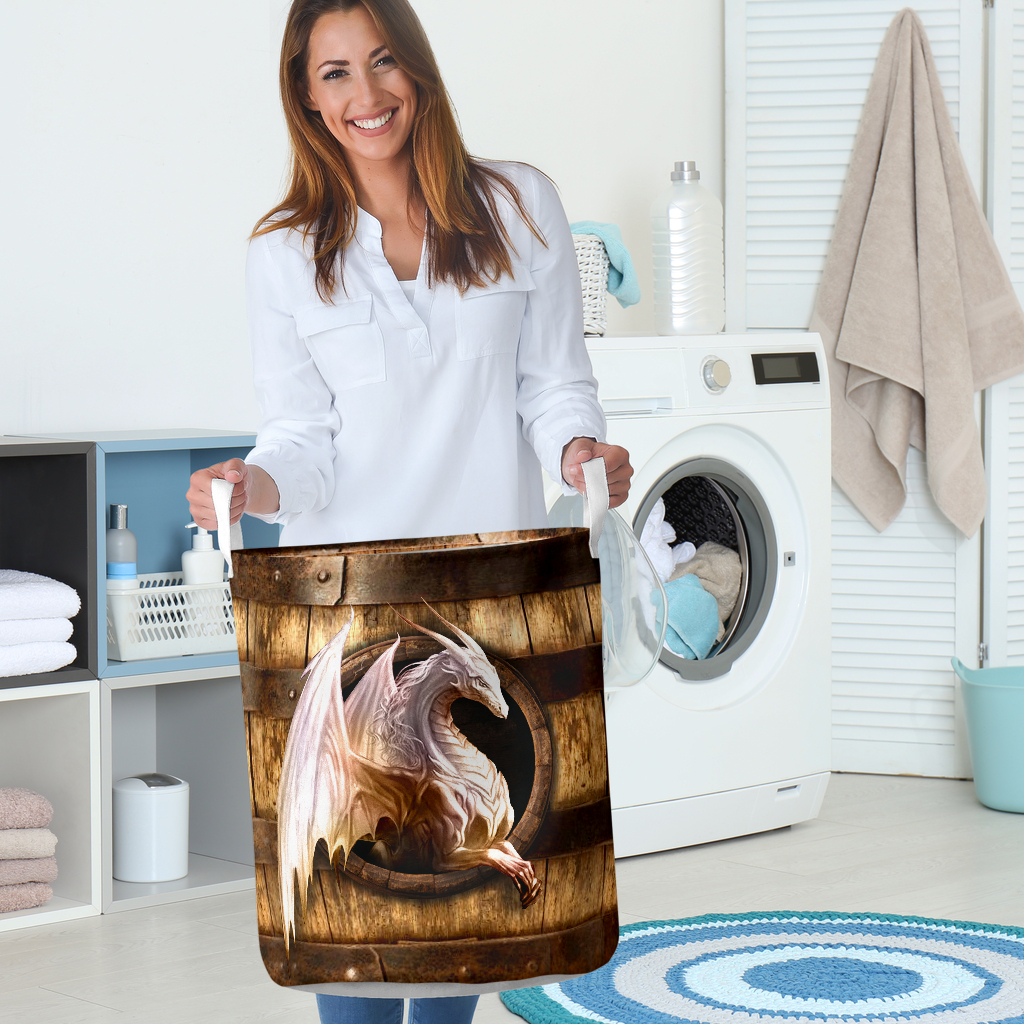 wood dragon all over printed laundry basket 5