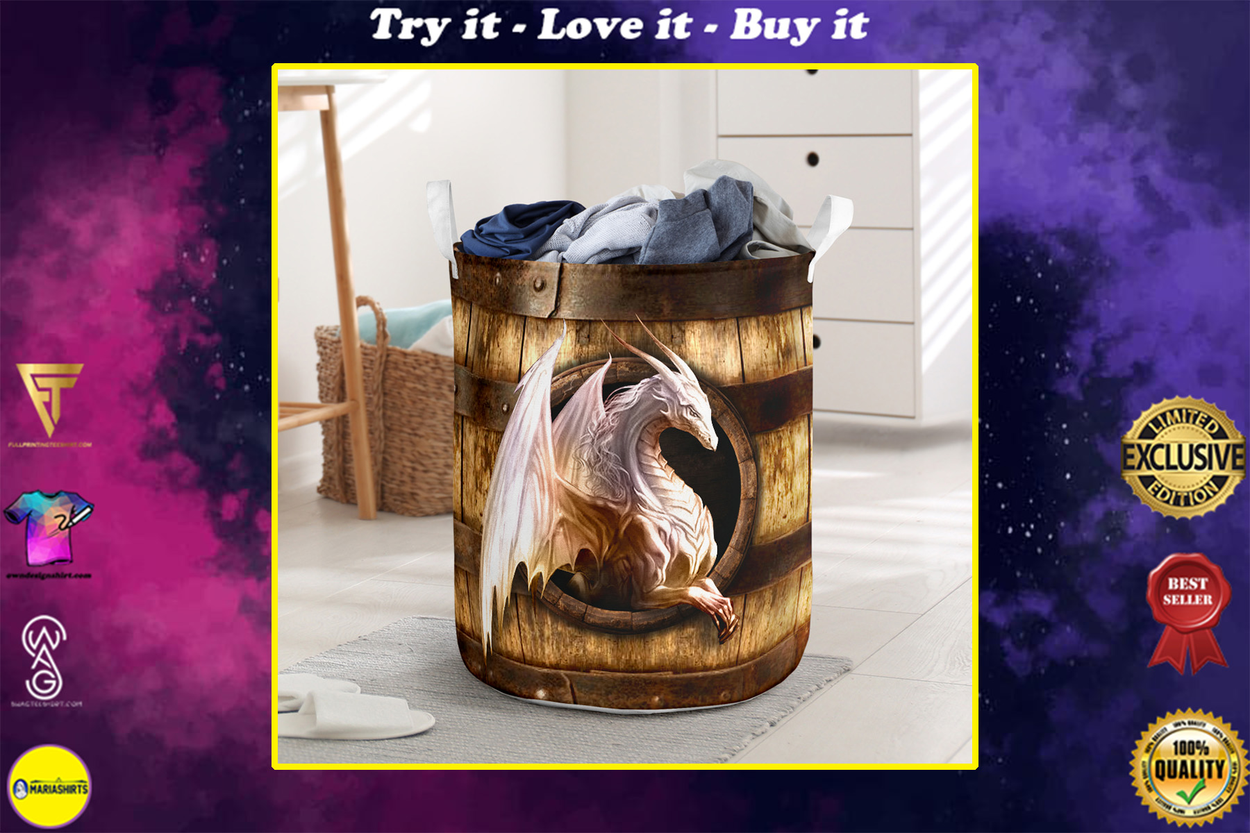 wood dragon all over printed laundry basket