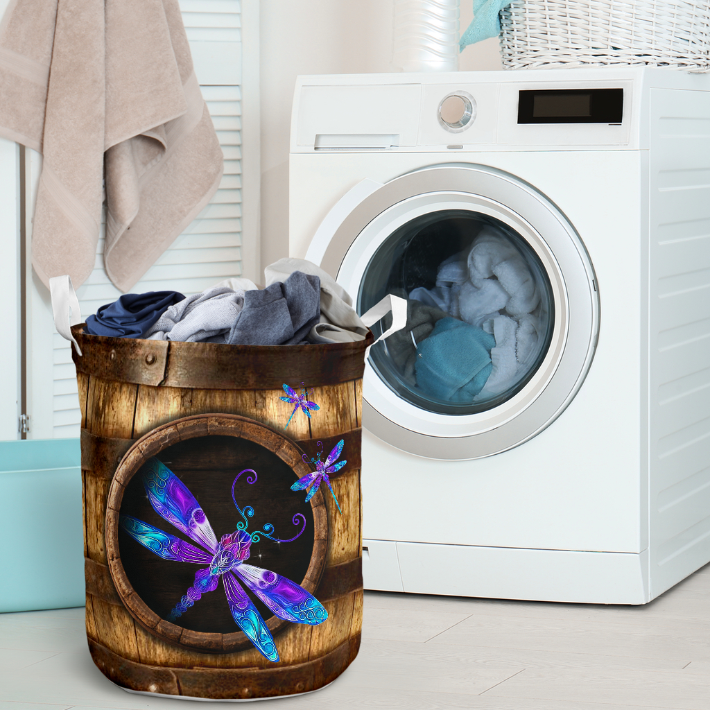 wood dragonfly all over printed laundry basket 2