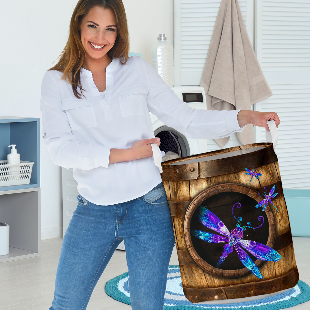 wood dragonfly all over printed laundry basket 3