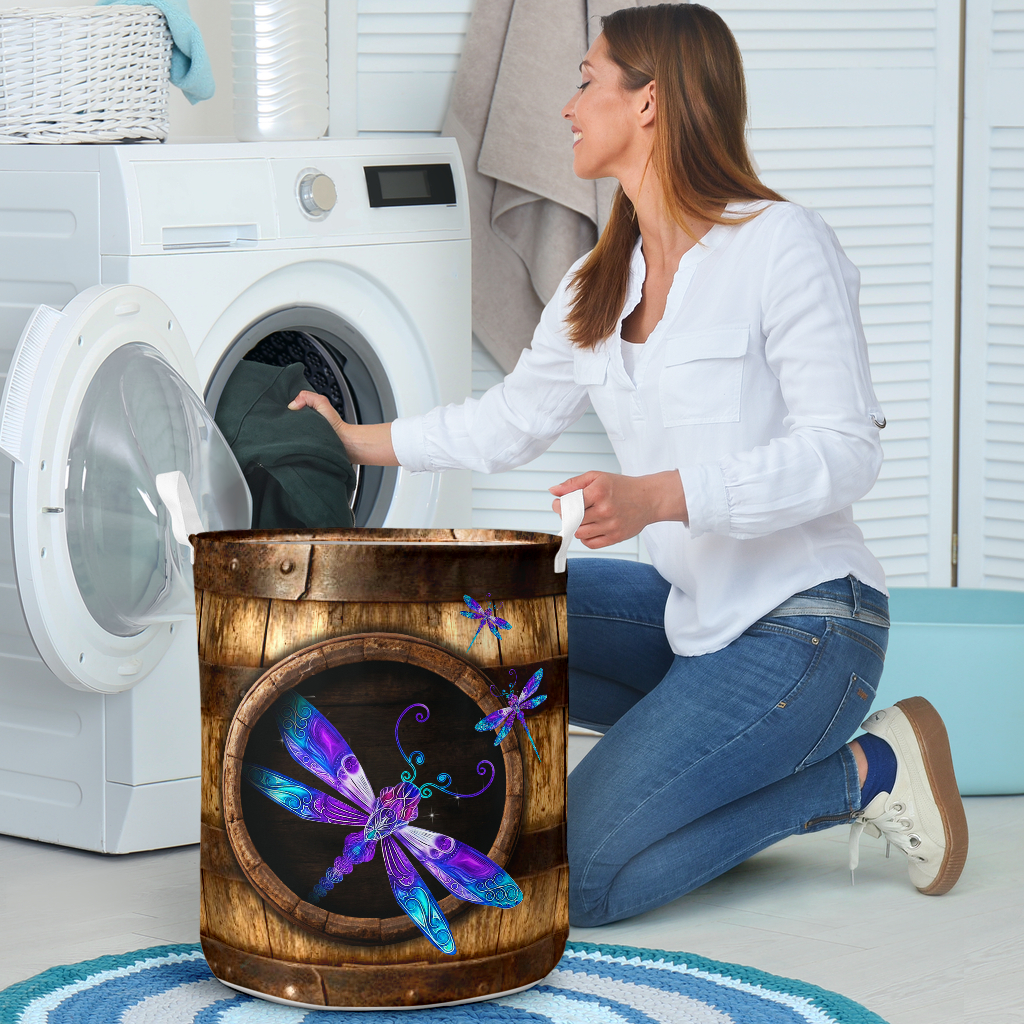 wood dragonfly all over printed laundry basket 4