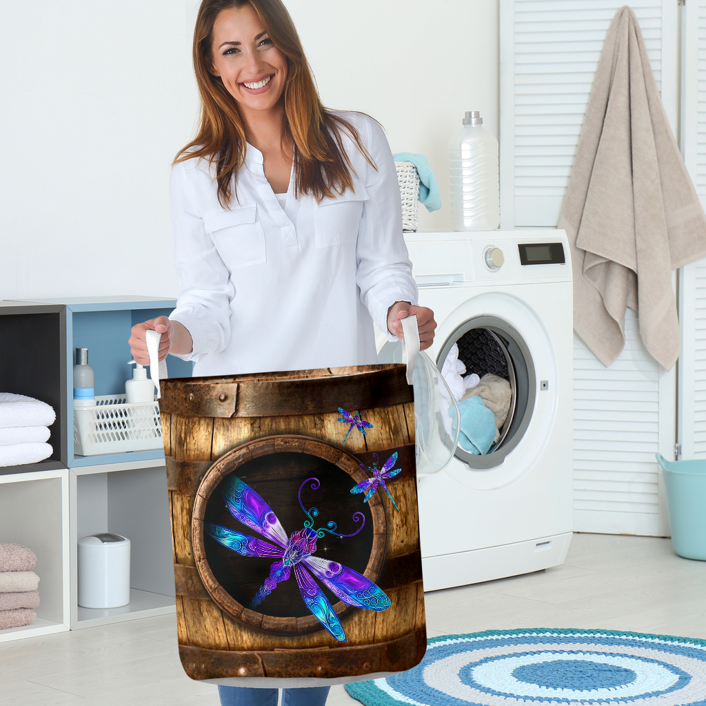 wood dragonfly all over printed laundry basket 5