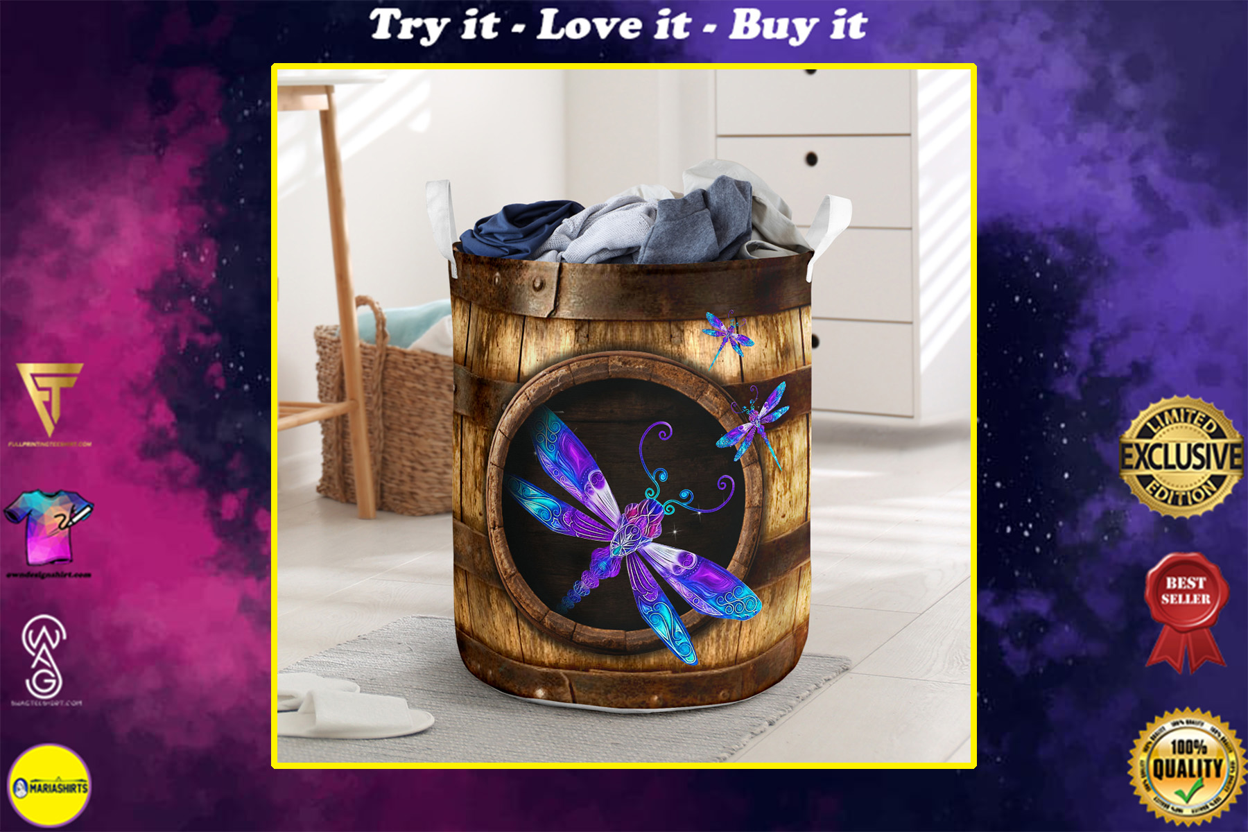 wood dragonfly all over printed laundry basket