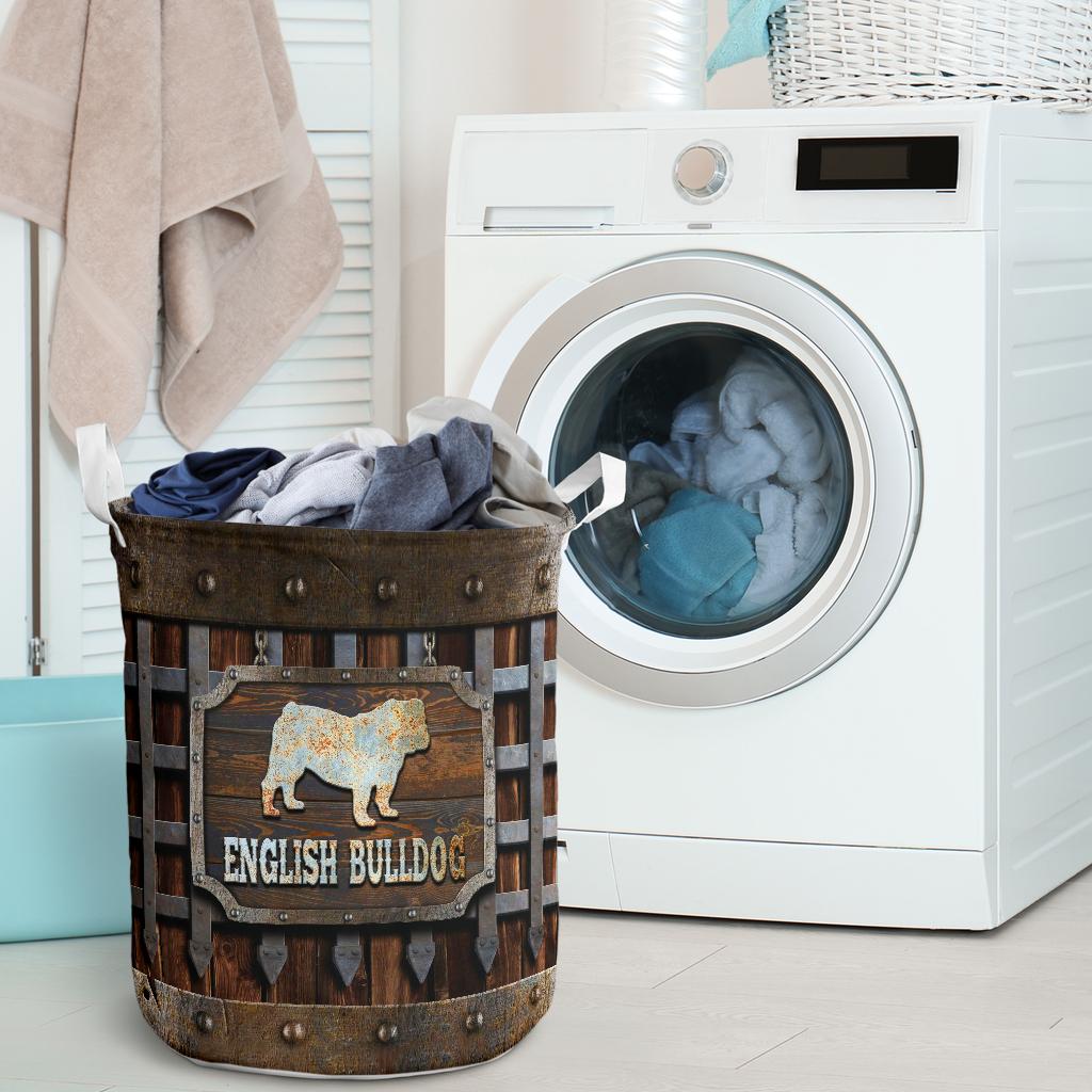 wood english bull dog all over printed laundry basket 2