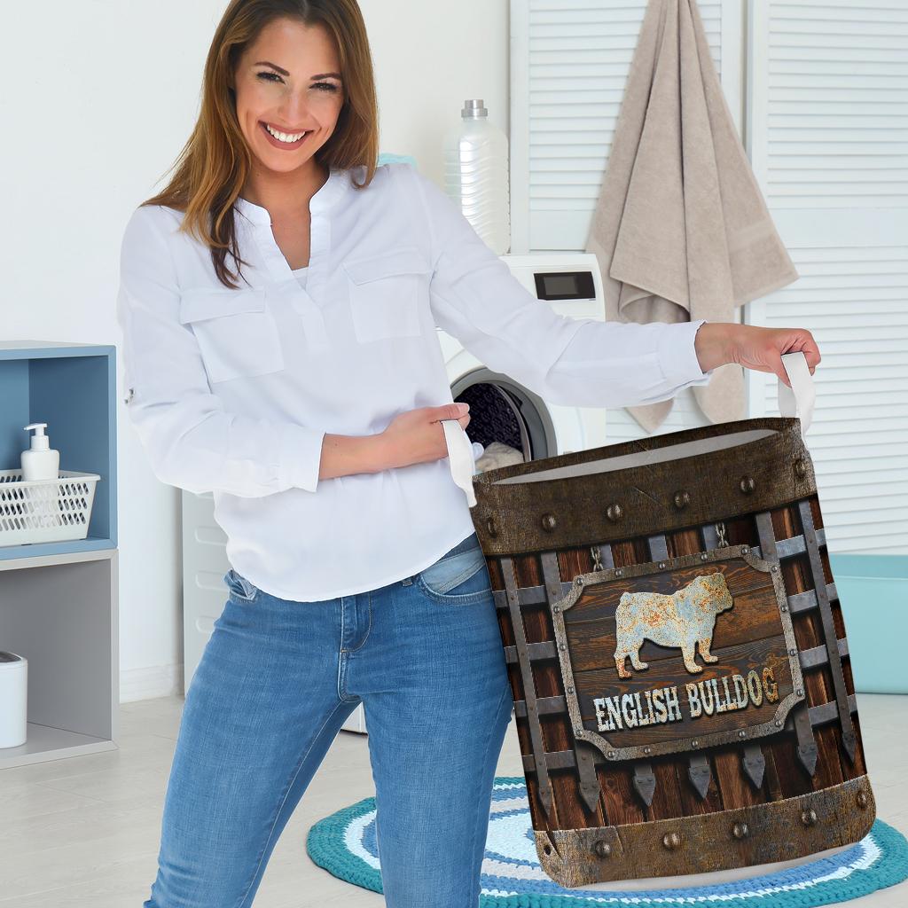 wood english bull dog all over printed laundry basket 3