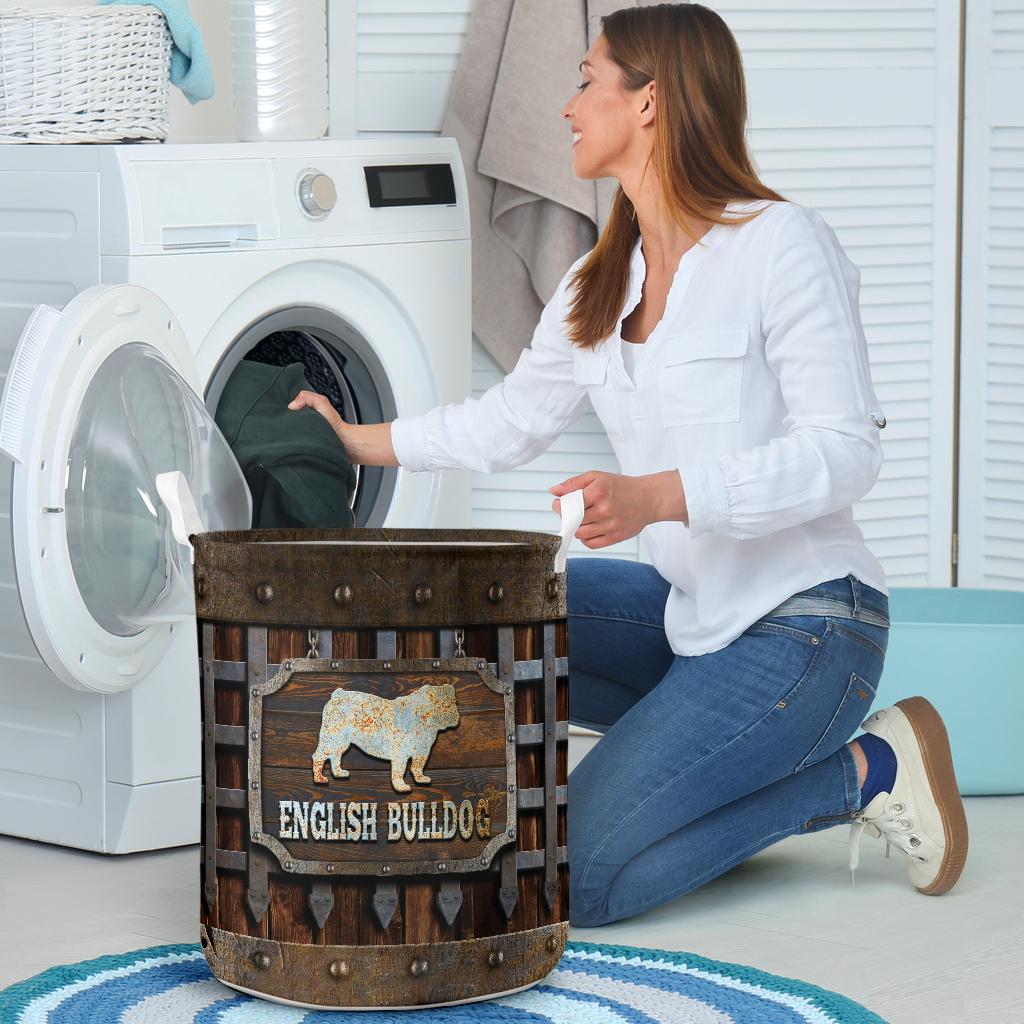 wood english bull dog all over printed laundry basket 4