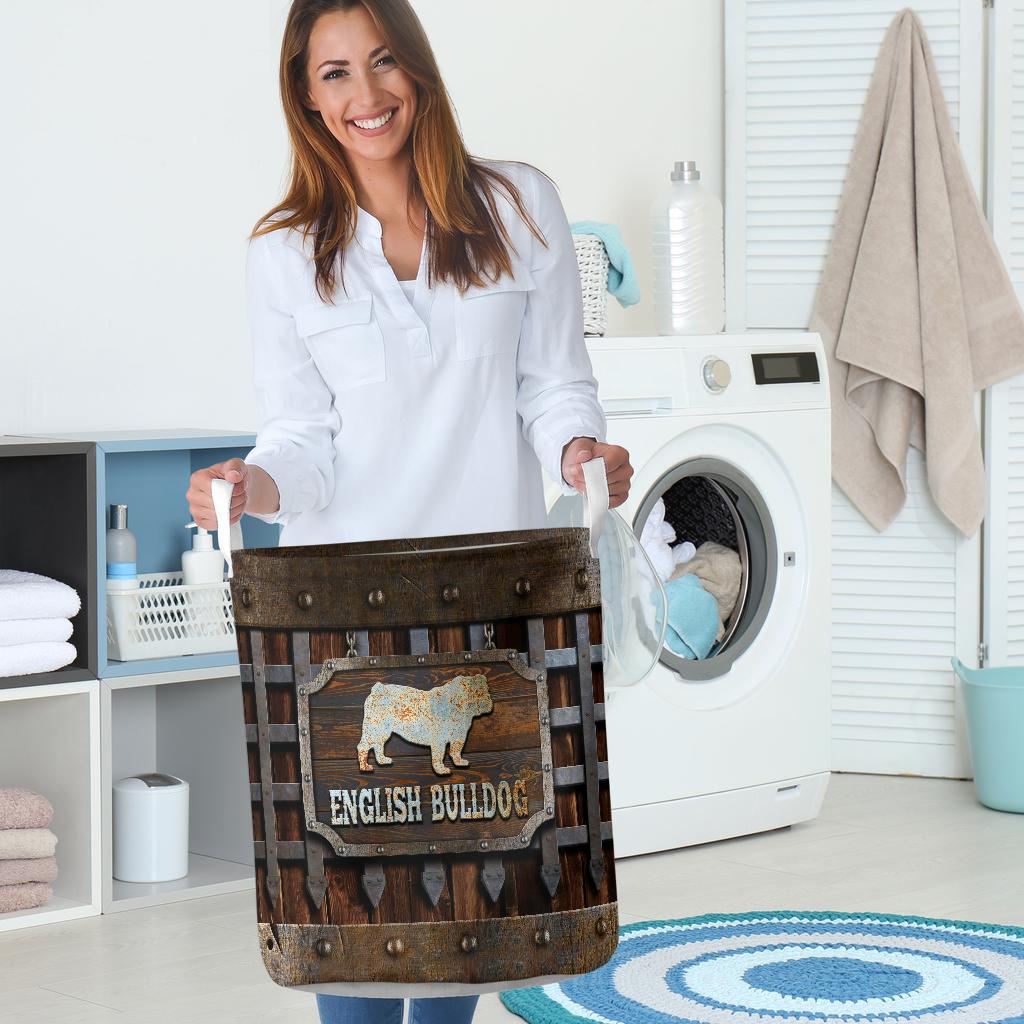 wood english bull dog all over printed laundry basket 5