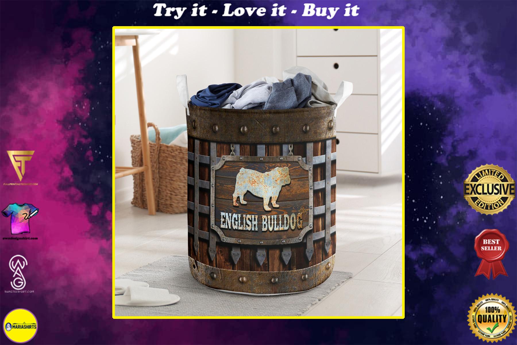 wood english bull dog all over printed laundry basket