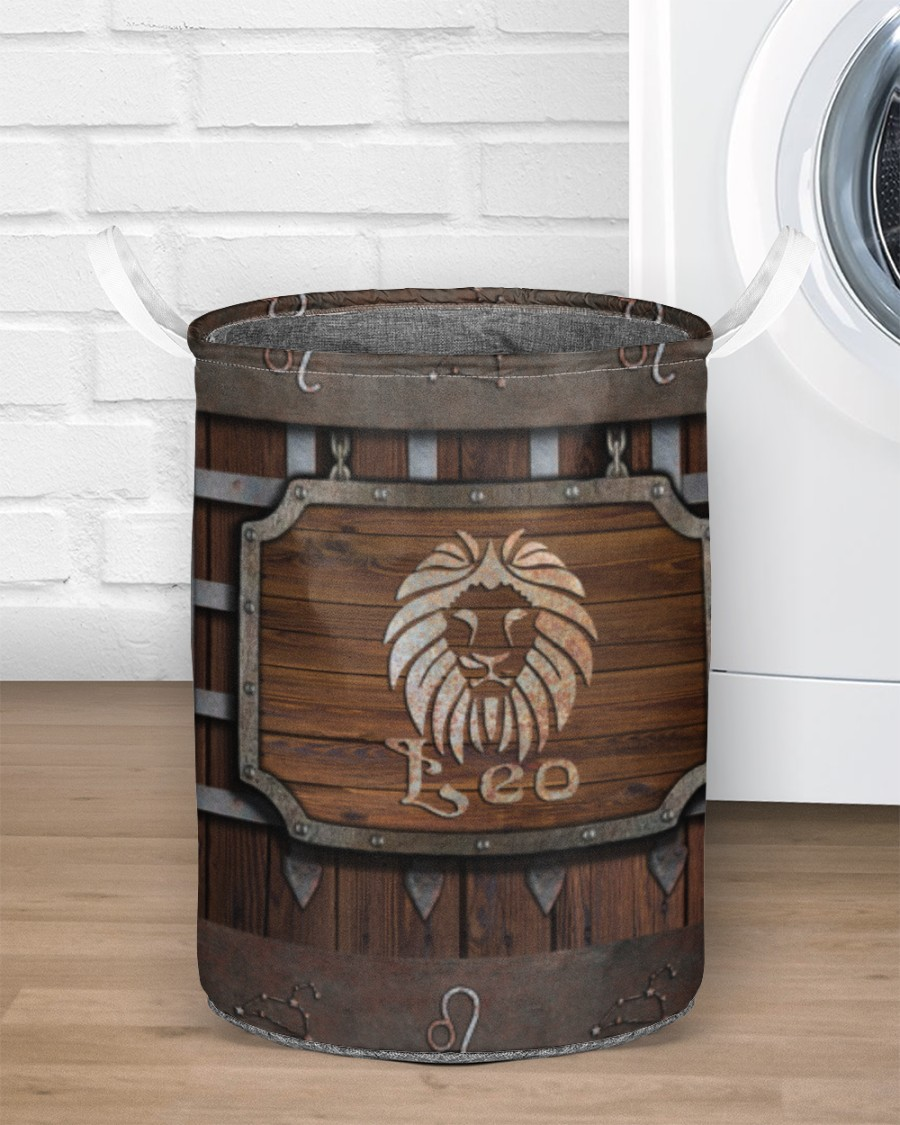 wood leo all over printed laundry basket 4
