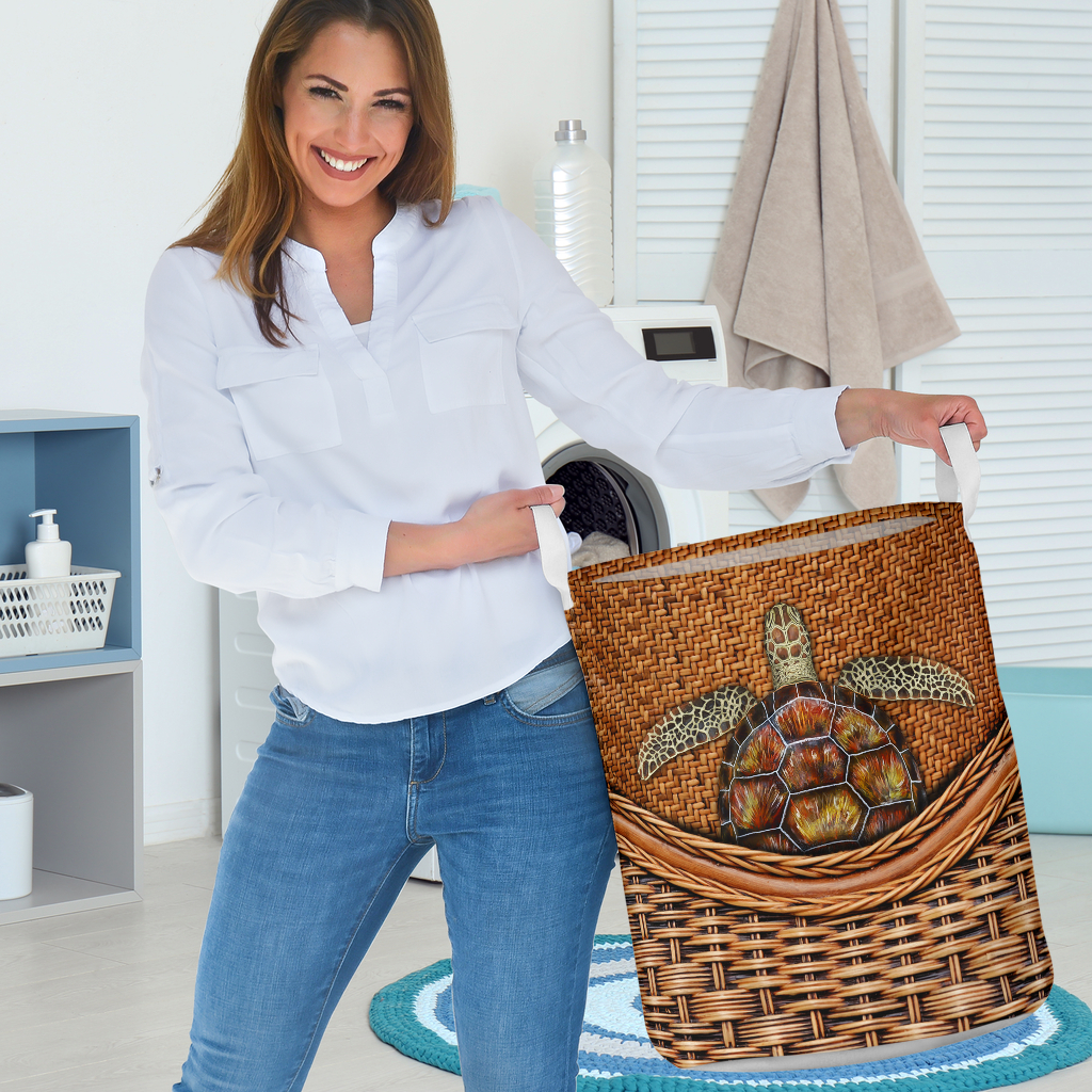 wood turtle all over printed laundry basket 3