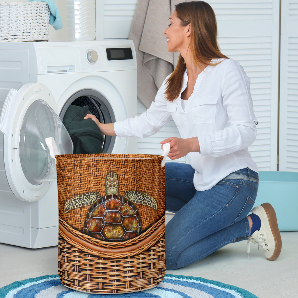 wood turtle all over printed laundry basket 4