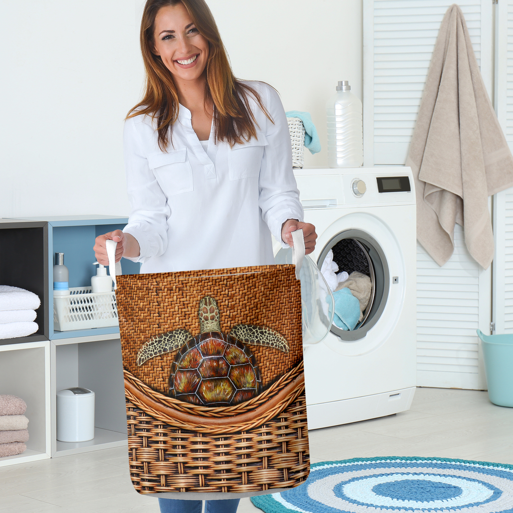 wood turtle all over printed laundry basket 5