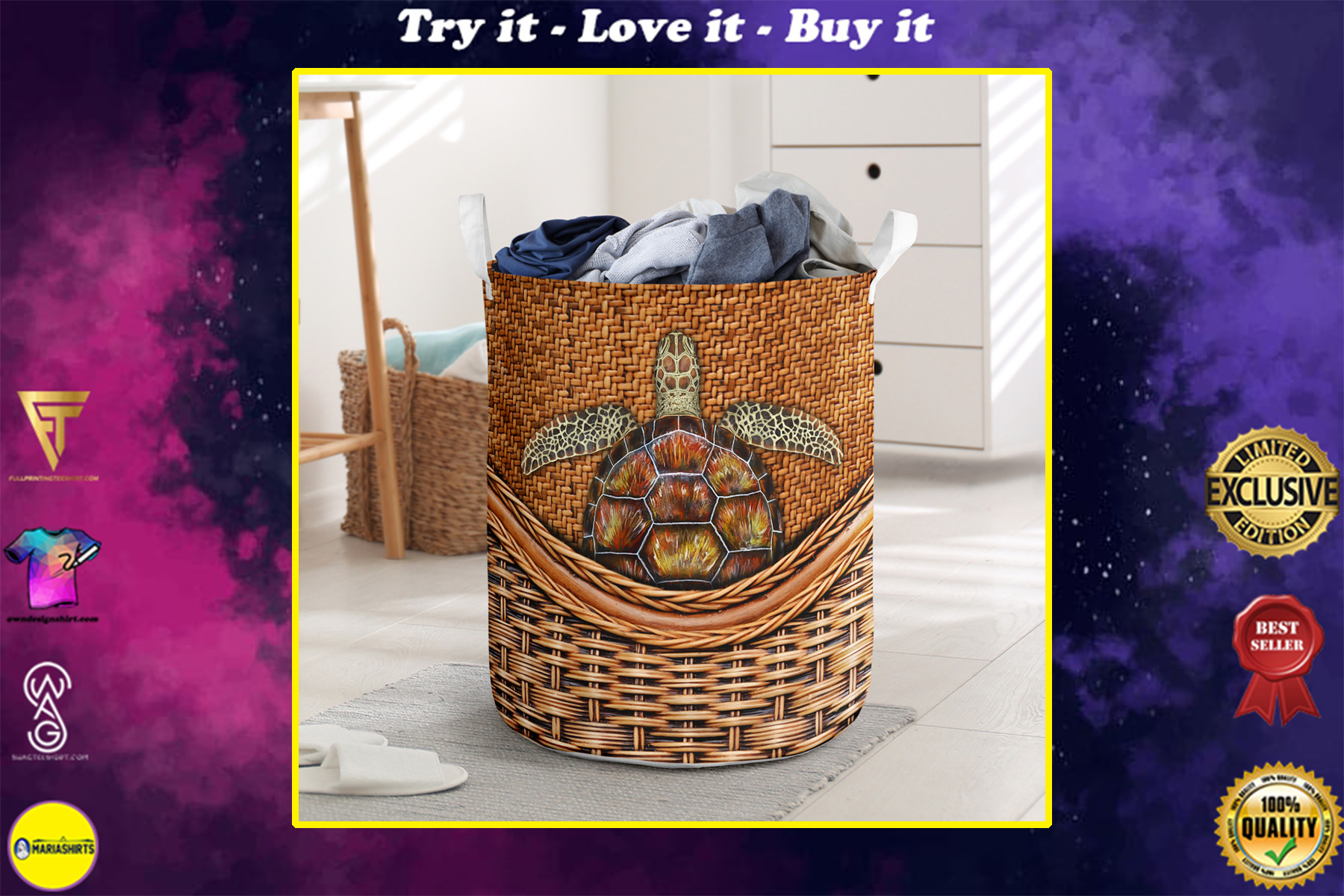 wood turtle all over printed laundry basket