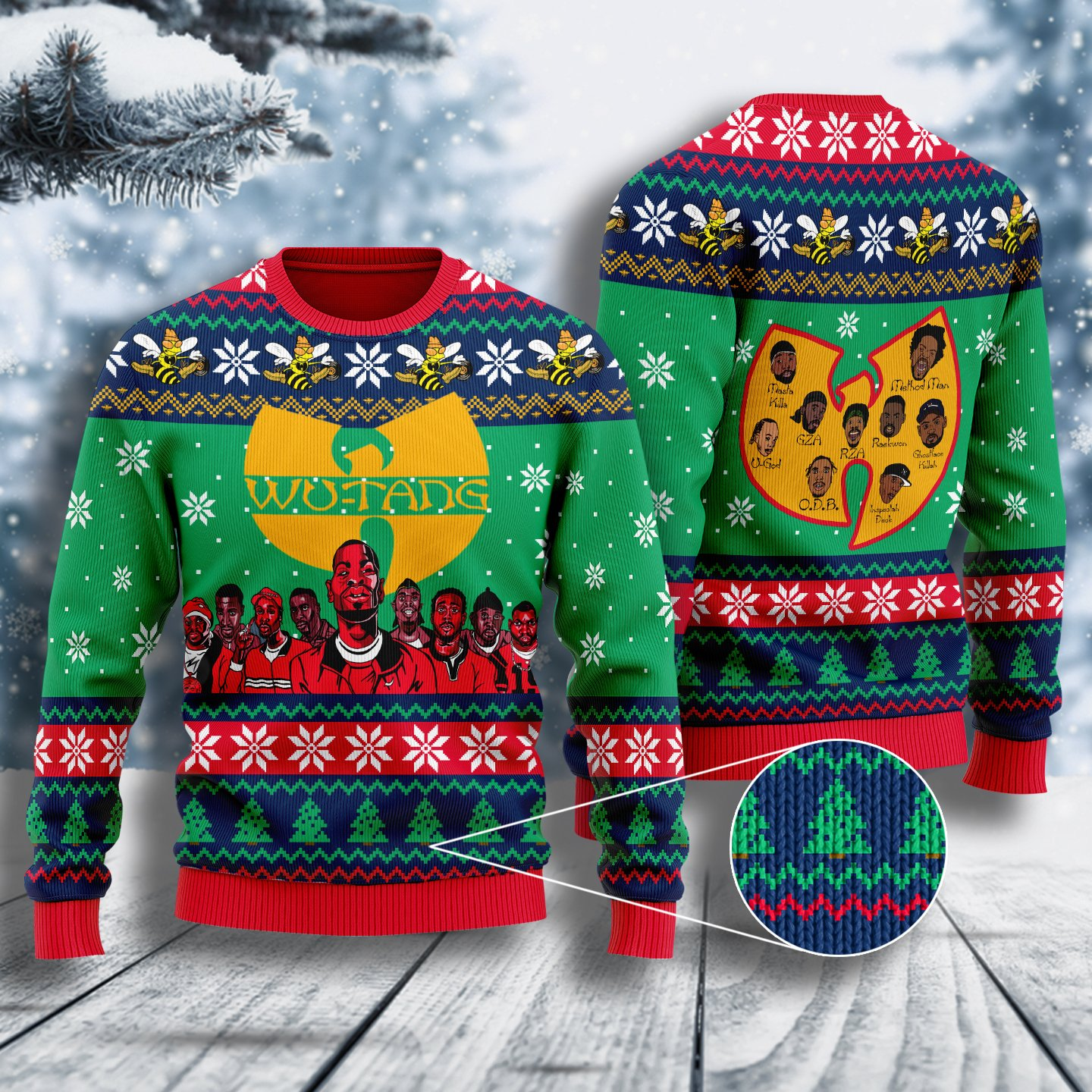 wu tang clan all over printed ugly christmas sweater 3
