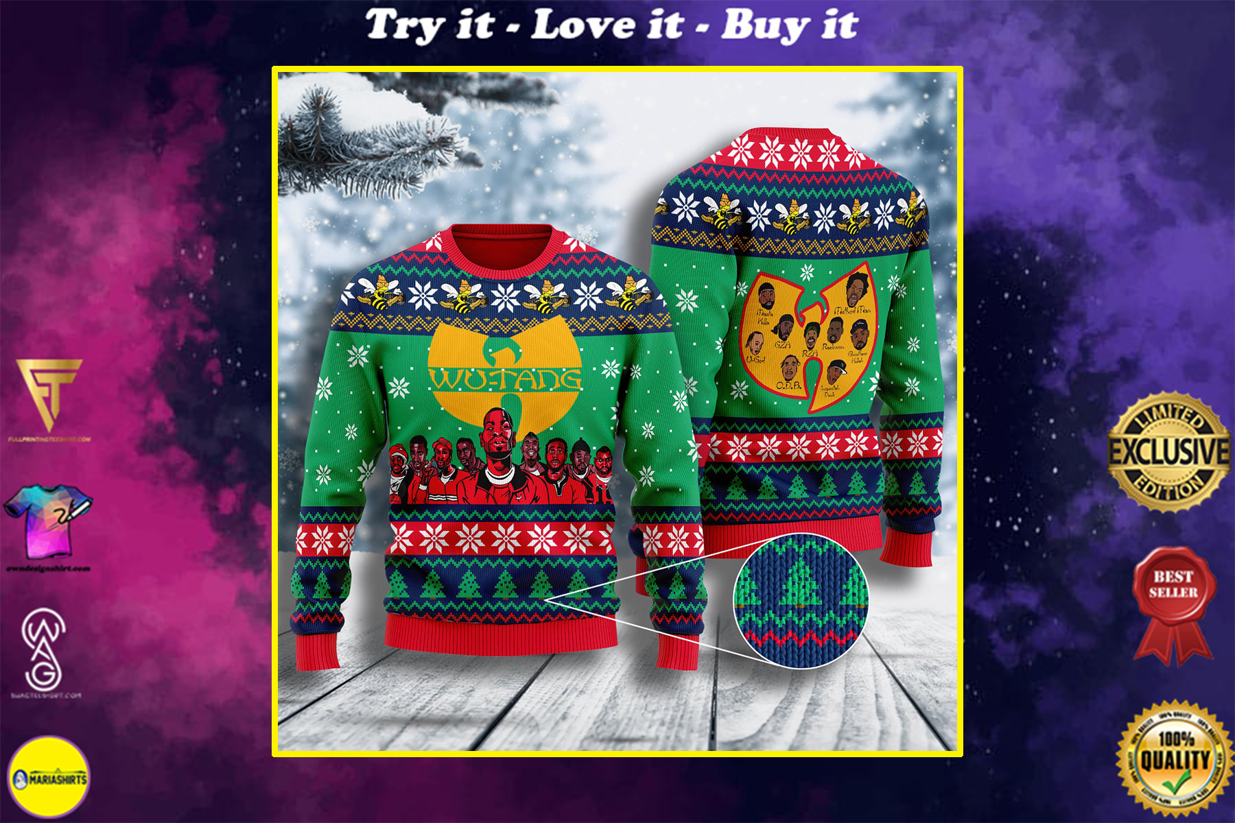 wu tang clan all over printed ugly christmas sweater
