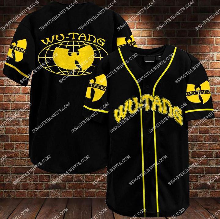 wu-tang clan band all over printed baseball shirt 1